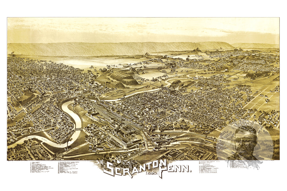 Scranton PA Historical Map 1890 Teds Vintage Art