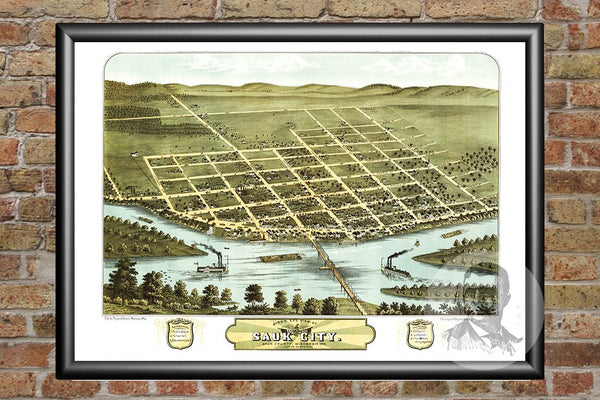 Sauk City, WI Historical Map - 1870