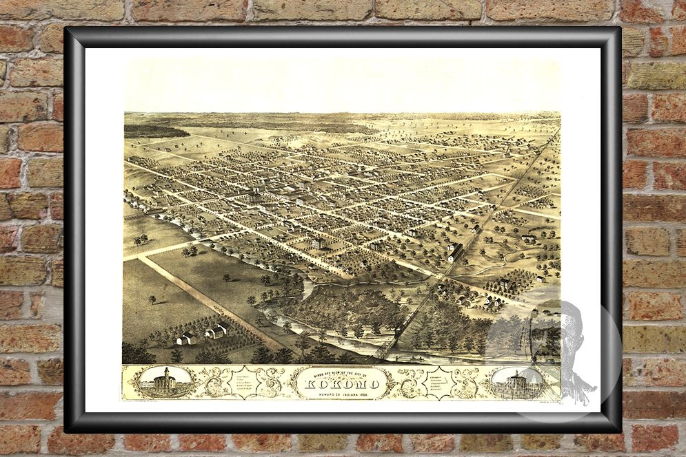 Kokomo, IN Historical Map - 1868 - Ted's Vintage Maps