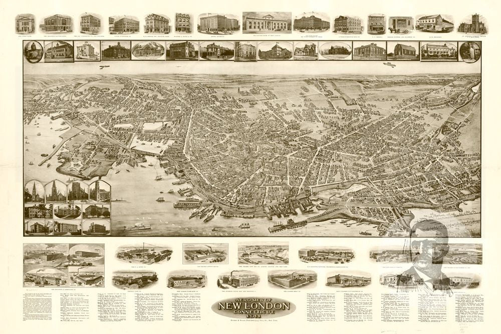New London, CT Historical Map - 1911