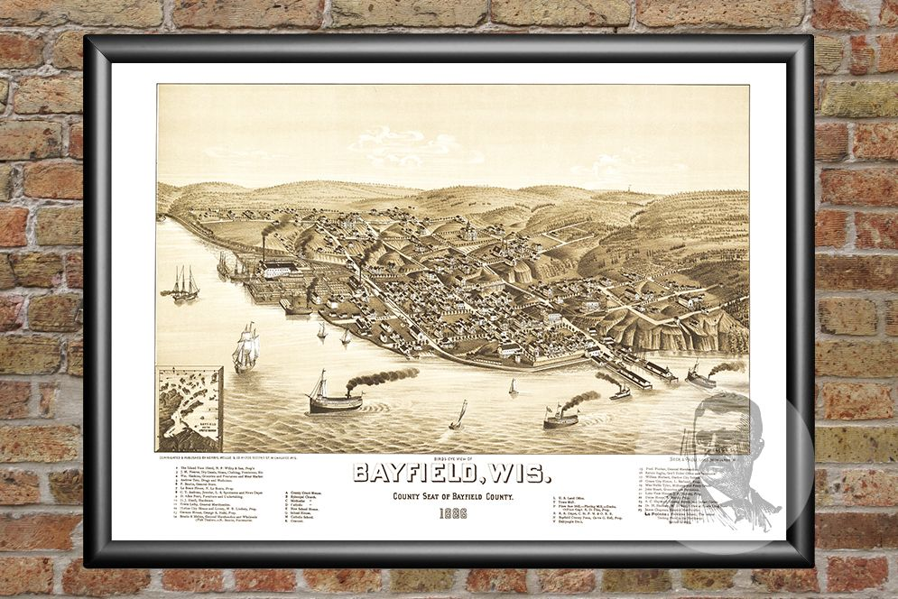 Bayfield, WI Historical Map - 1886