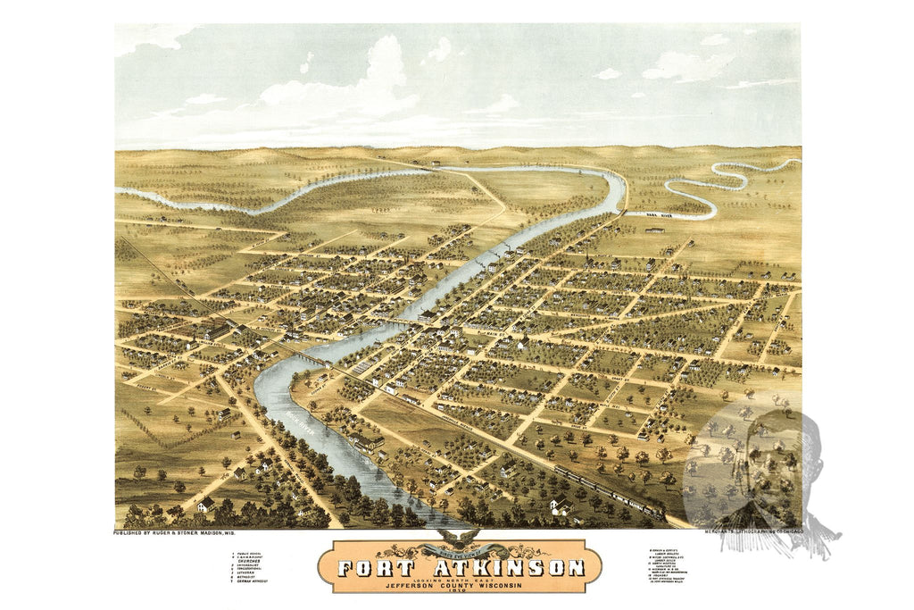 Fort Atkinson, WI Historical Map - 1870 - Ted's Vintage Maps