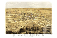 Saint Johns, MI Historical Map - 1868