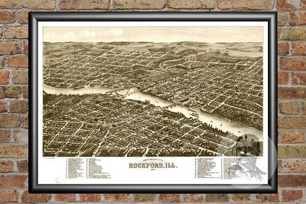 Rockford, IL Historical Map - 1880