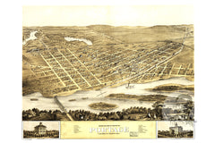 Portage, WI Historical Map - 1868