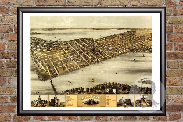 Madison, WI Historical Map - 1867