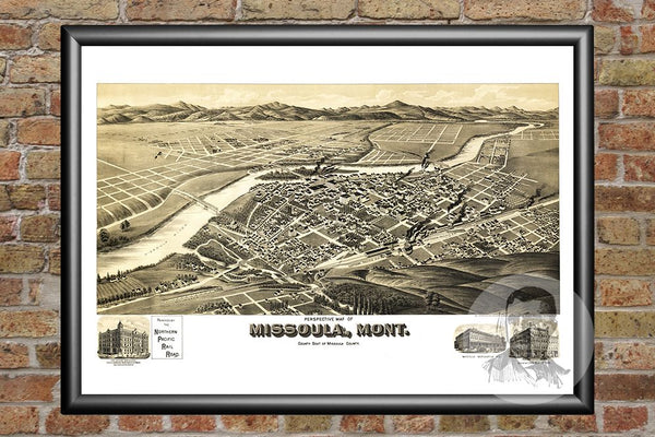 Missoula, MT Historical Map - 1891