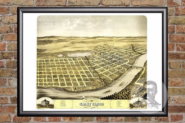 St. Cloud, MN Historical Map - 1869