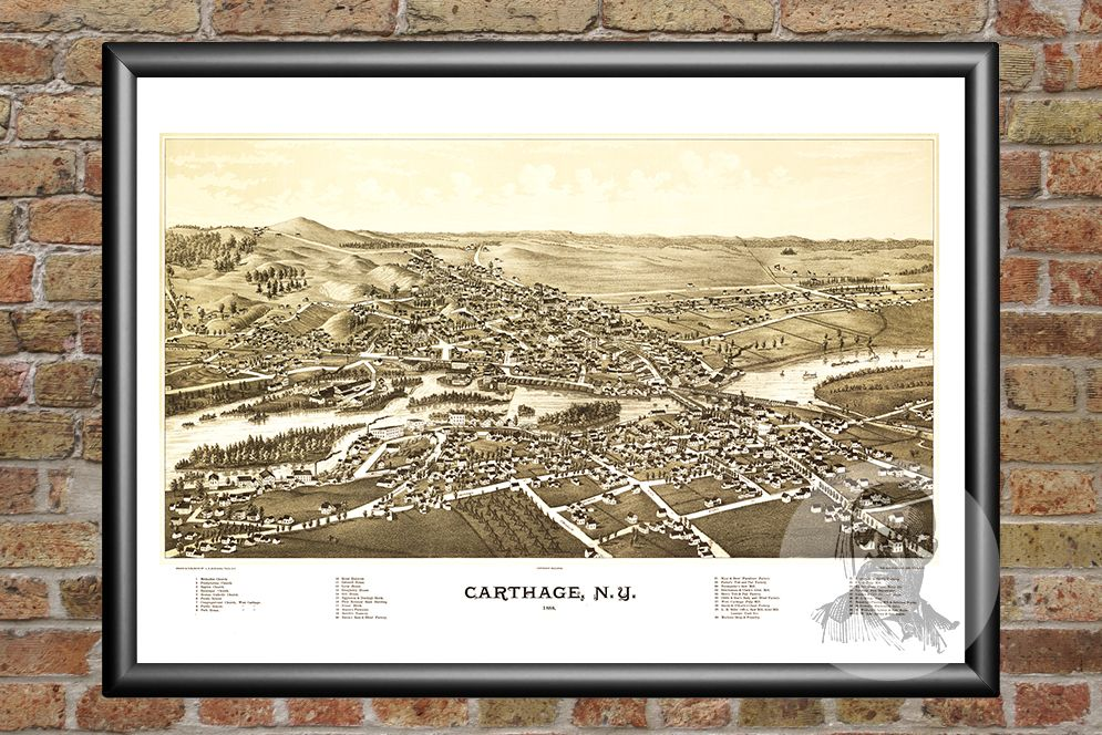 Carthage, NY Historical Map - 1888 - Ted's Vintage Maps