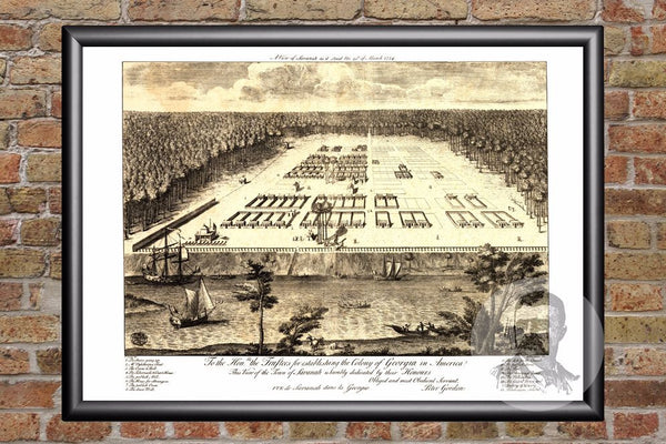Savannah, GA Historical Map - 1734