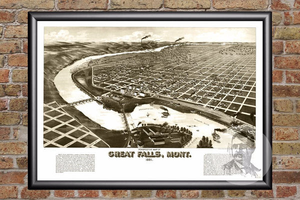 Great Falls, MT Historical Map - 1891
