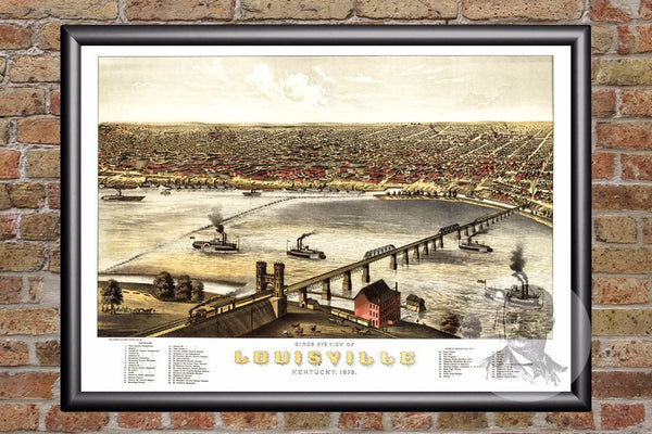 Louisville, KY Historical Map - 1876