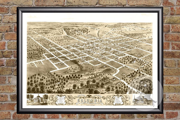 Columbia, MO Historical Map - 1869