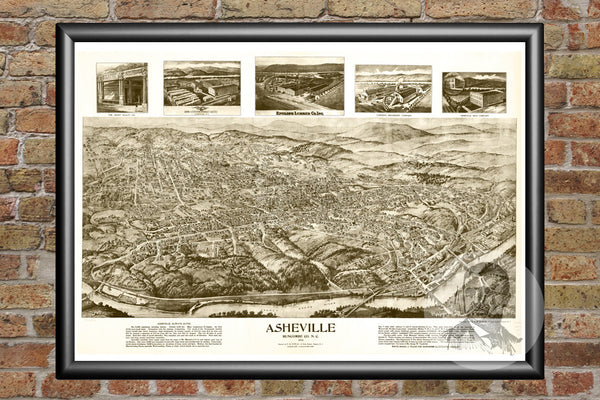 Asheville, NC Historical Map - 1912