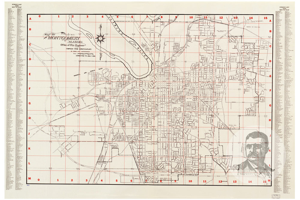 Montgomery, AL Historical Map - 1956 - Ted\'s Vintage Art