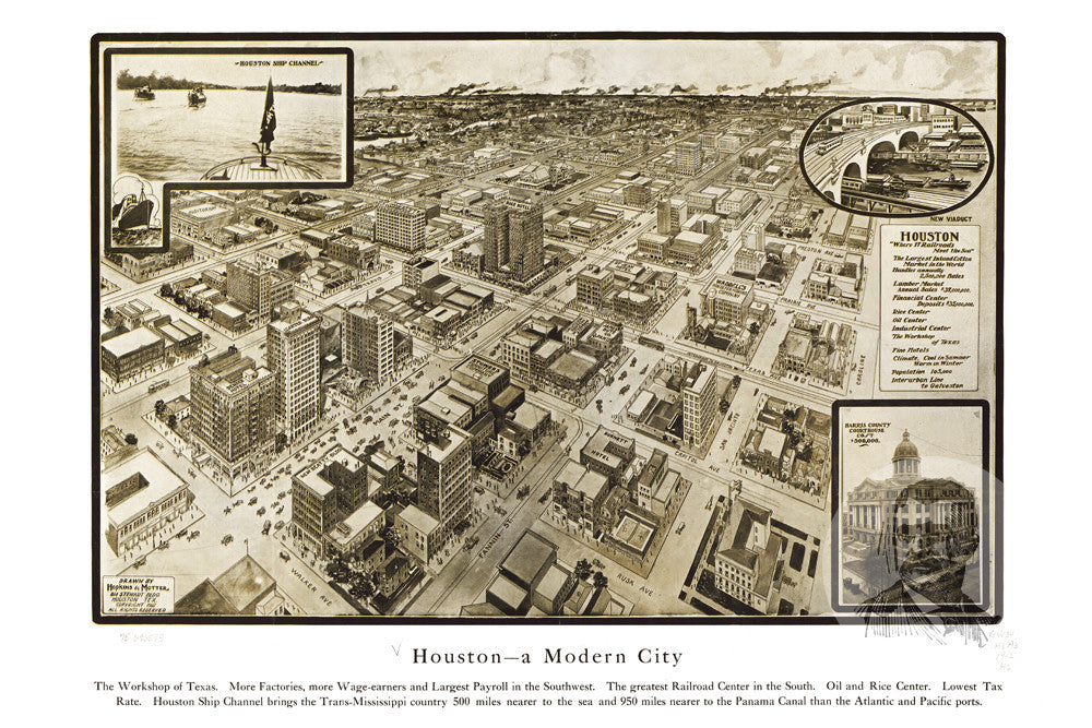 Houston, TX Historical Map - 1912 - Ted's Vintage Maps