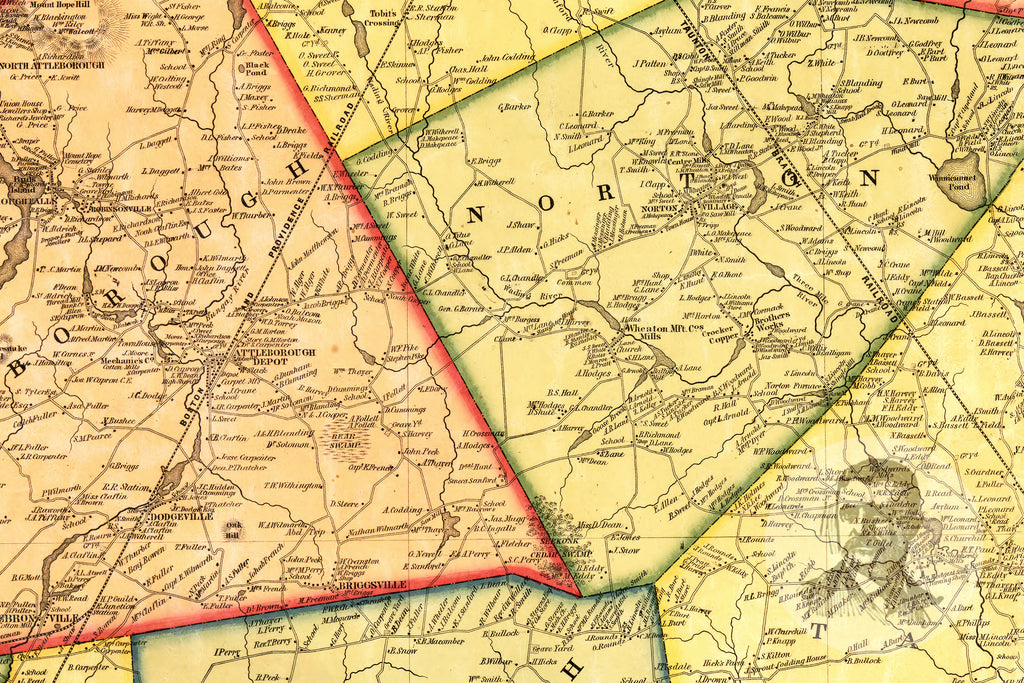 Bristol County, MA 1852 Land Ownership Map - Ted's Vintage Maps
