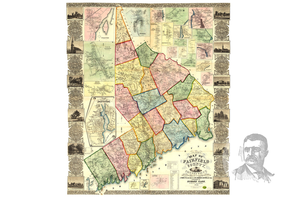 Fairfield County, CT 1856 Land Ownership Map - Ted's Vintage Maps