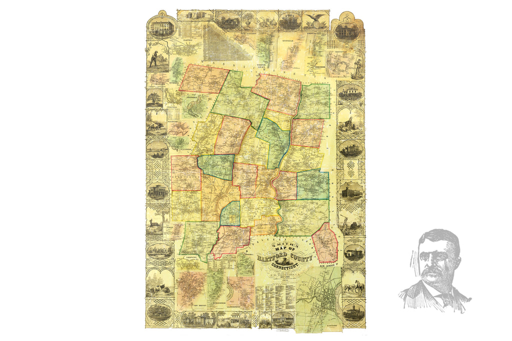 Hartford County, CT 1855 Land Ownership Map - Ted's Vintage Maps