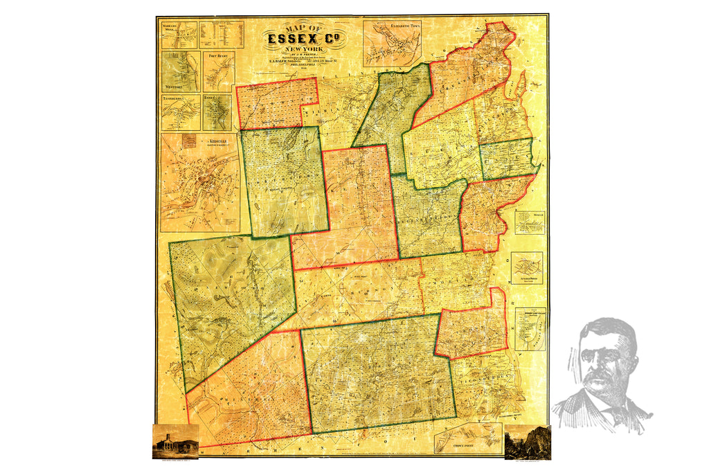 Essex County, NY 1858 Land Ownership Map - Ted's Vintage Maps