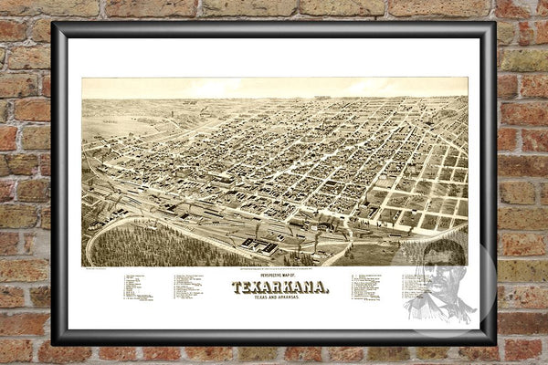 Texarkana, TX Historical Map - 1888