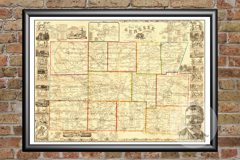 Genesee County, NY 1854 Land Ownership Map - Ted's Vintage Maps