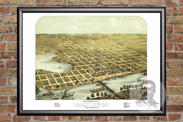 Vintage Map of Hastings, MN from 1867