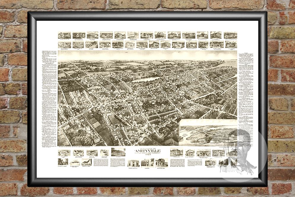 Amityville, NY Historical Map - 1925 - Ted's Vintage Maps