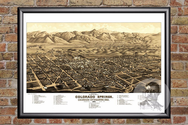 Colorado Springs, CO Historical Map - 1882