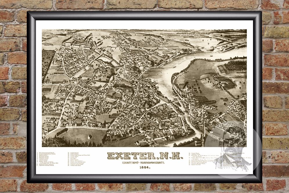 Exeter, NH Historical Map - 1884
