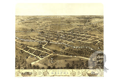 Delphi, IN Historical Map - 1868