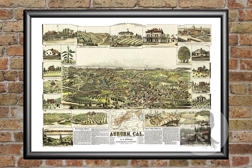 Auburn, CA Historical Map - 1887 - Ted's Vintage Maps