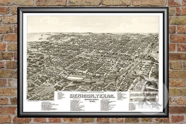 Denison, TX Historical Map - 1886