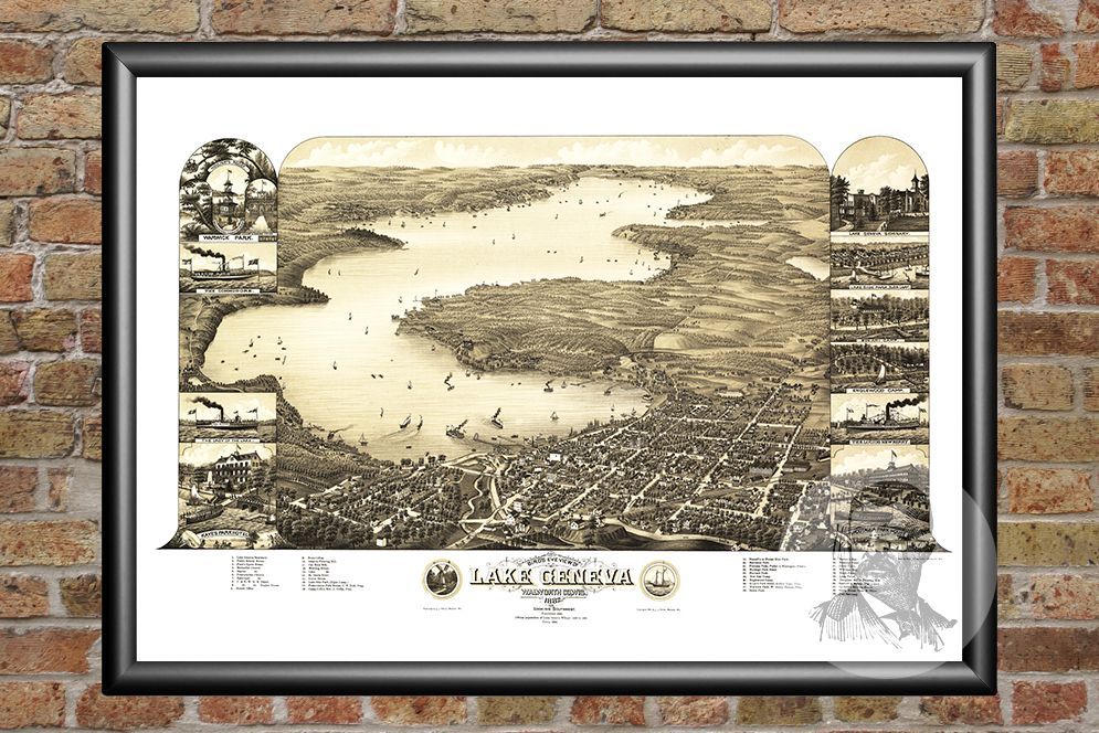 Lake Geneva, WI Historical Map - 1882 - Ted's Vintage Maps