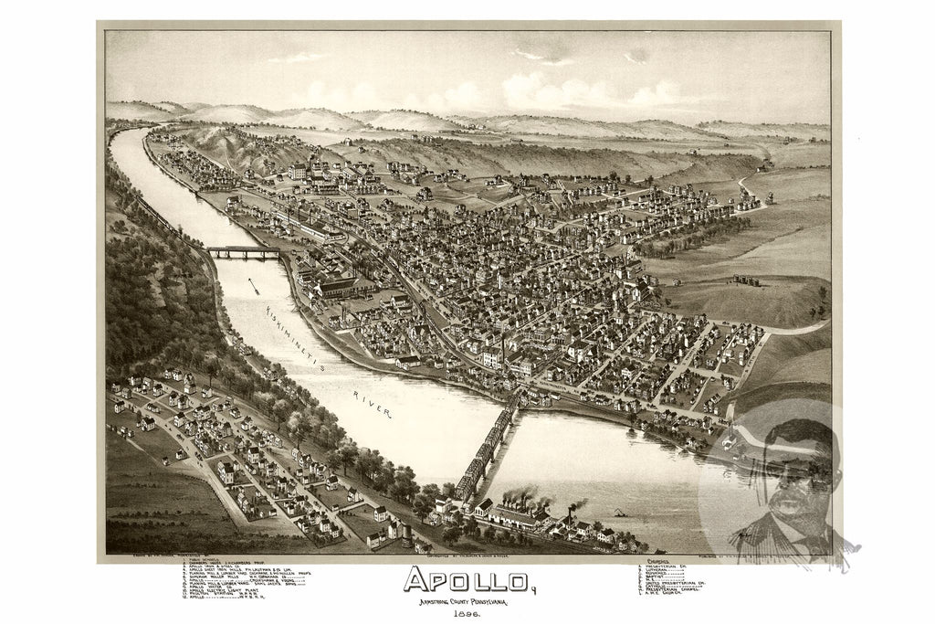 Apollo, PA Historical Map - 1896 - Ted's Vintage Maps
