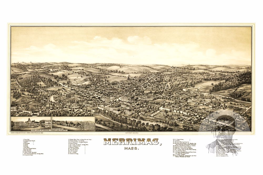 Merrimac, MA Historical Map - 1889