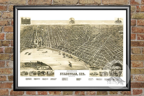 Evansville, IN Historical Map - 1888