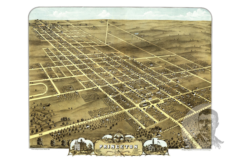 Princeton, IL Historical Map - 1870