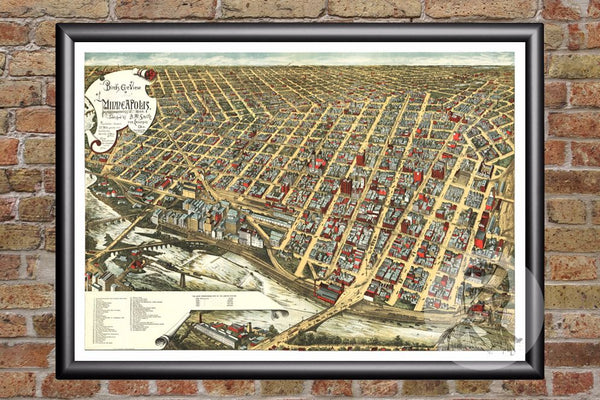 Minneapolis, MN Historical Map - 1891