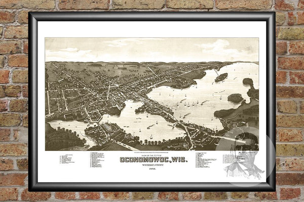 Oconomowoc, WI Historical Map - 1885