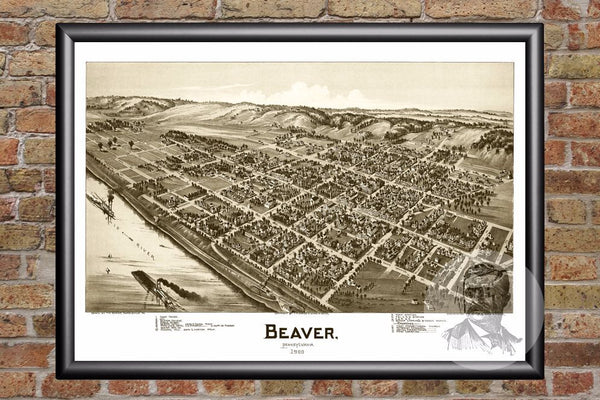 Beaver, PA Historical Map - 1900