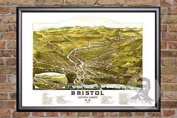 Bristol, NH Historical Map - 1884