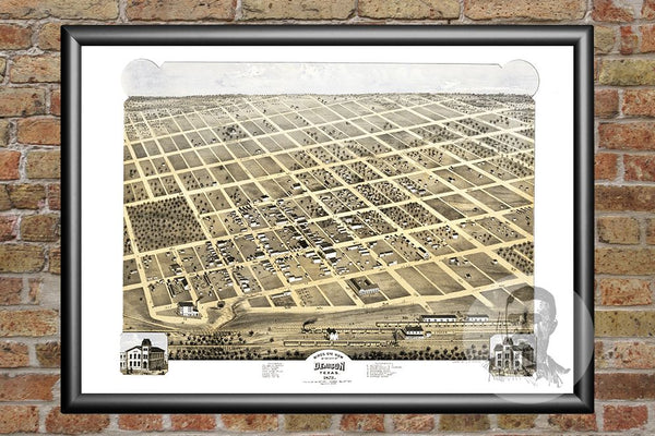 Denison, TX Historical Map - 1873
