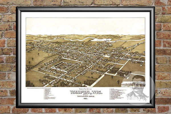 Waupun, WI Historical Map - 1885