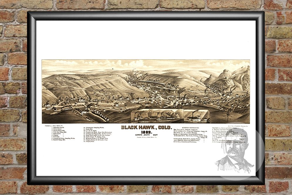 Black Hawk, CO Historical Map - 1882 - Ted's Vintage Maps