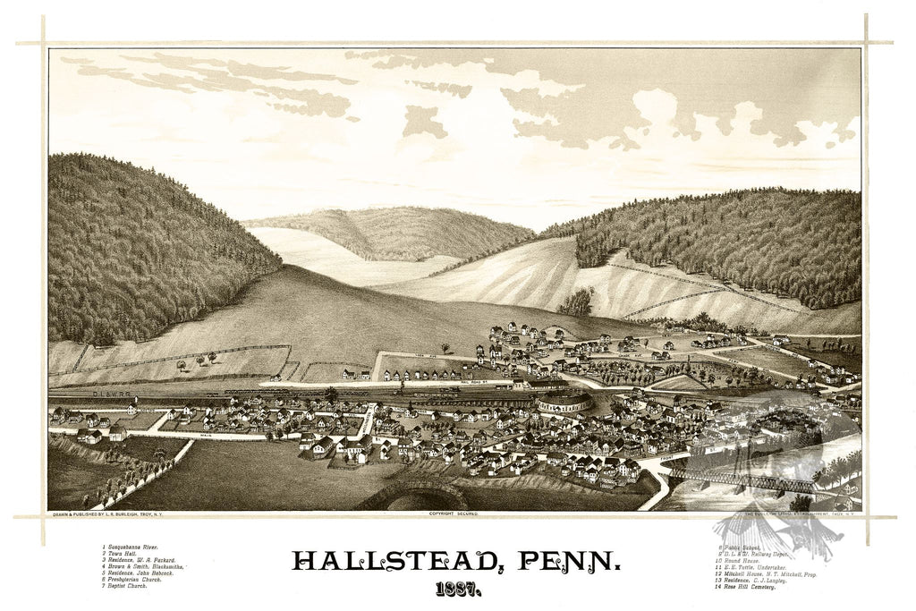 Hallstead, PA Historical Map - 1887 - Ted's Vintage Maps