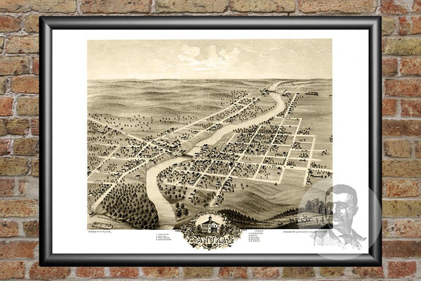 Vintage Map of Anoka, MN from 1869