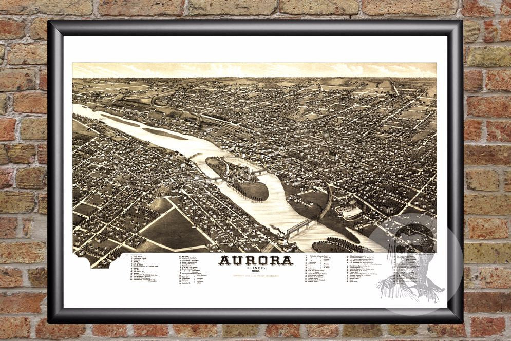 Aurora, IL Historical Map - 1882 - Ted's Vintage Maps