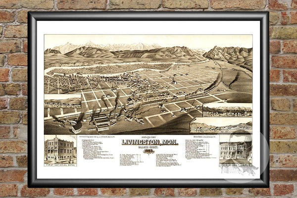 Livingston, MT Historical Map - 1883