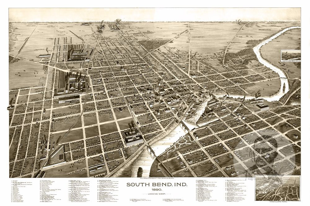 South Bend IN Historical Map Teds Vintage Art - South bend map